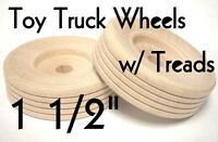 "1 1/2"" Wood Truck Wheels w/ Wooden Treads ~ Toy Parts ~ Lot of 12 to 100 by PLD"