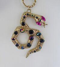 Betsey Johnson Crystal Snake Pendant Necklace Gold tone NWT!
