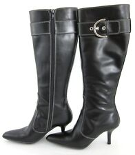 Coach 'Justine' Knee High Side Zip Boots Black Leather Sz 6B Made In Italy