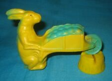 Old Rubber Rabbit Pushing A Wheelbarrow Full Of Eggs Squeak Toy