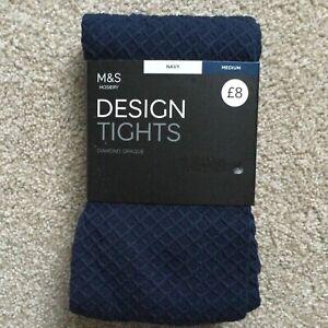 M&S MEDIUM Design Diamond Opaque Tights NAVY BLUE M