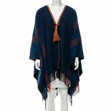 New HERMES Poncho Navy Wrap Rocabar Leather Pompons Tassels