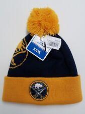 Buffalo Sabres Knit Beanie Winter Hat Cap NHL - Youth One Size - Pom Pom & Cuff