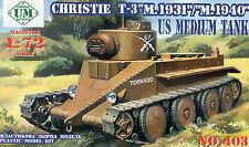 UM Military Technics 403 Christie T-3 tank 1/72