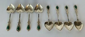 Antique Chinese Sterling Silver Jade Heart Shape Spoons Set 8