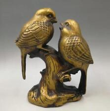Chinese Seiko carving pure brass Two magpies statue