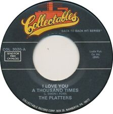 THE PLATTERS: I Love You A Thousand Times / With This Ring NM 45 Doo Wop Oldies
