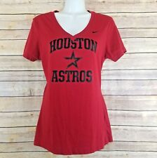 Houston Astros Nike T Shirt L Texas Short Sleeve Vneck Red Baseball MLB Tee