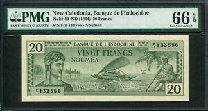 New Caledonia 1944, 20 Francs, P49, PMG 66 EPQ GEM UNC
