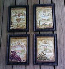 4 Wine Bottle Pictures 5X7 Wine Labels Picture Wall Hangings Home Decor