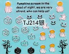 Halloween Silver Pumpkin Scream Tree Branches Horror 3D Nail Art Sticker Decals