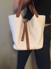 NEW BEIGE AND BROWN 38CM COW LEATHER BUCKET BAG PURSE TOTE
