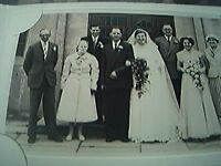 postcard size r/p old undated x 8 wedding party group bride groom