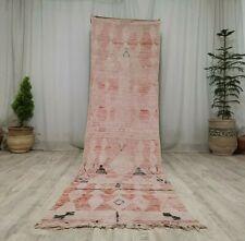 Antique Moroccan Handmade Vintage Runner Rug 2'8x11 Berber Faded Pink Wool Rug