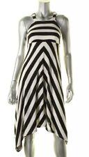 INC Womens Black-Ivory Striped Asymmetric Hi-low Casual Dress Petites PP NWT