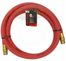 """Tekton 1/2"""" x 6' ft Rubber Air Hose Whip Lead 250 PSI Brass Ends USA Made 46363"""