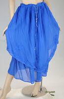 VTG Rayon Sheer Embroidered Royal Blue Layered Gypsy Boho Sweeping Skirt L