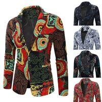 Men Vintage Ethnic Printed Dress Floral Casual Suit Coat Slim Fit Blazer Jacket