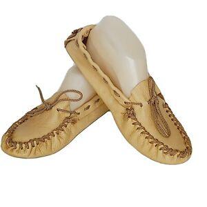 Moccasin Natural Deer Skin Handmade Shoe Slipper, Women 9 Men 7 NWOB