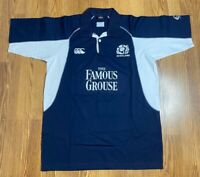 Men's Canterbury Scotland Rugby Blue White Polo Jersey Size Large