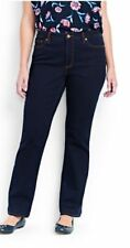 Lands End Women's 8T 8x36 Mid Rise Straight Leg Jeans Dark Wash NEW FREE SHIP