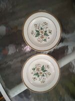 Antique Semi Vitreous Edwin  Knowles China Co Set Of Two Small Floral Plates