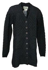 Aran Craft Women's Sweater Sz L Reg Merino Wool Cardigan Black A261167