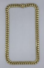 Sterling Silver 925 Yellow Gold Plated Big Men's Miami Cuban Necklace 427 Grams