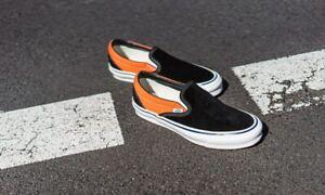Vans Vault OG LX Slip-on Skate Shoes Men's Size 10.5 Black Exuberance Orange