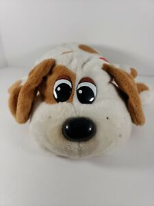 """Pound Puppies 2007 Long Floppy Ears White Brown Spots Red Collar Puppy LARGE 12"""""""