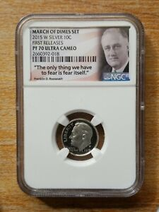 2015-W ROOSEVELT March of DIME 10 Cent Proof Ultra Cameo 1st release NGC PF70