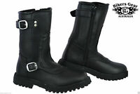 NEW BGA MENS ENGINEER 2 BUCKLE ZIP UP SIDE A GRADE LEATHER MOTORCYCLE BOOTS
