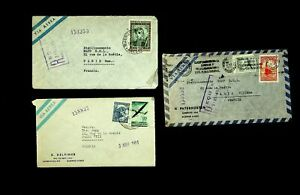 ARGENTINA 1951 SET OF 3 AIRMAIL COVERS W/ 5v AIRPLANE, BULL ETC TO PARIS FRANCE