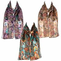 Ladies Chiffon Satin Flower Design Scarf
