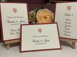 Wedding Seating Plan Cards - Autumn Tree Collection - Claret/Wine Colour