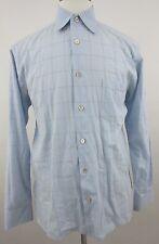 ERMENEGILDO ZEGNA Men's Checkered Casual Shirt Sz Medium MADE in ITALY Blue