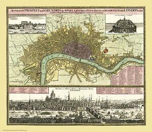 London - an old map by Johann Baptist Homann , c1740, modern reproduction