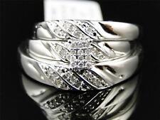 10K Mens and Ladies White Gold Diamond Engagement Bridal Wedding Ring Trio Set