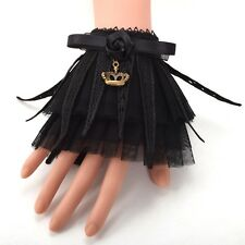 1Pr Vintage Women Black Bowknot Crown Lace Wrist CuffS Bracelet Gothic Punk Lady