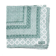 NWT RODA Textured Green and White Bandanna Print Pocket Square