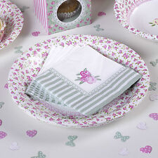 20 FRILLS & SPILLS Paper COCKTAIL NAPKINS SERVIETTES Pink Wedding Tea Party Rose