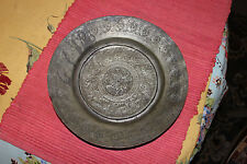 Antique Middle Eastern India Arabic Metal Plate Bowl-Engraved Man On Horse Sword