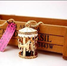 Pendants Betsey Johnson Jewelry Chain Carousel Women Charm Rhinestone Necklaces