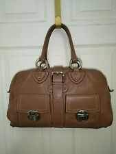 Vintage Marc Jacobs Nutmeg Brown Leather Satchel Handbag Front Pushlock Pockets