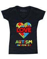 Love Puzzle Heart Autism Awareness Women's V-Neck T-shirt Support Love Kind Tee