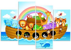 Childrens Noah's Ark Boat Jungle Animal - Nursery Canvas Wall Art Print Picture