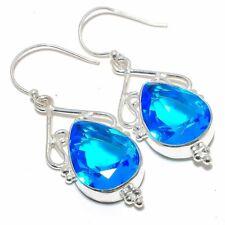 "Earring Jewelry 2.2"" S141208 Blue Topaz Gemstone Ethnic Handmade"
