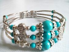 Ethnic Silver Blue Gemstone Bracelet Women's Birthday Gift Wife Mum Girlfriend