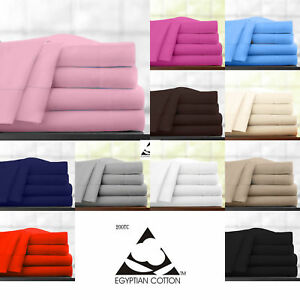 100% Egyptian Cotton 200TC Fitted Sheets Single Double King Super King,YAW
