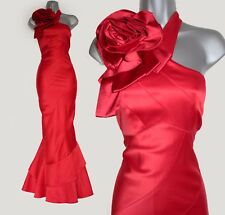 Karen Millen Red Dress Corsage One Shoulder Wedding Maxi Long Cocktail UK14 EU42